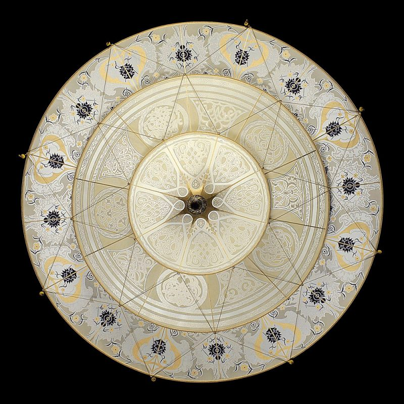 Lampe en soie à 3 niveaux Scheherazade Fortuny décoration Géométrique, vue de dessous