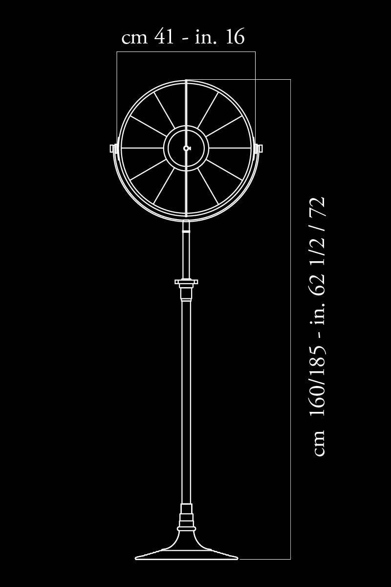 Lampadaire Fortuny Atelier 41 noir feuille de cuivre dimensions