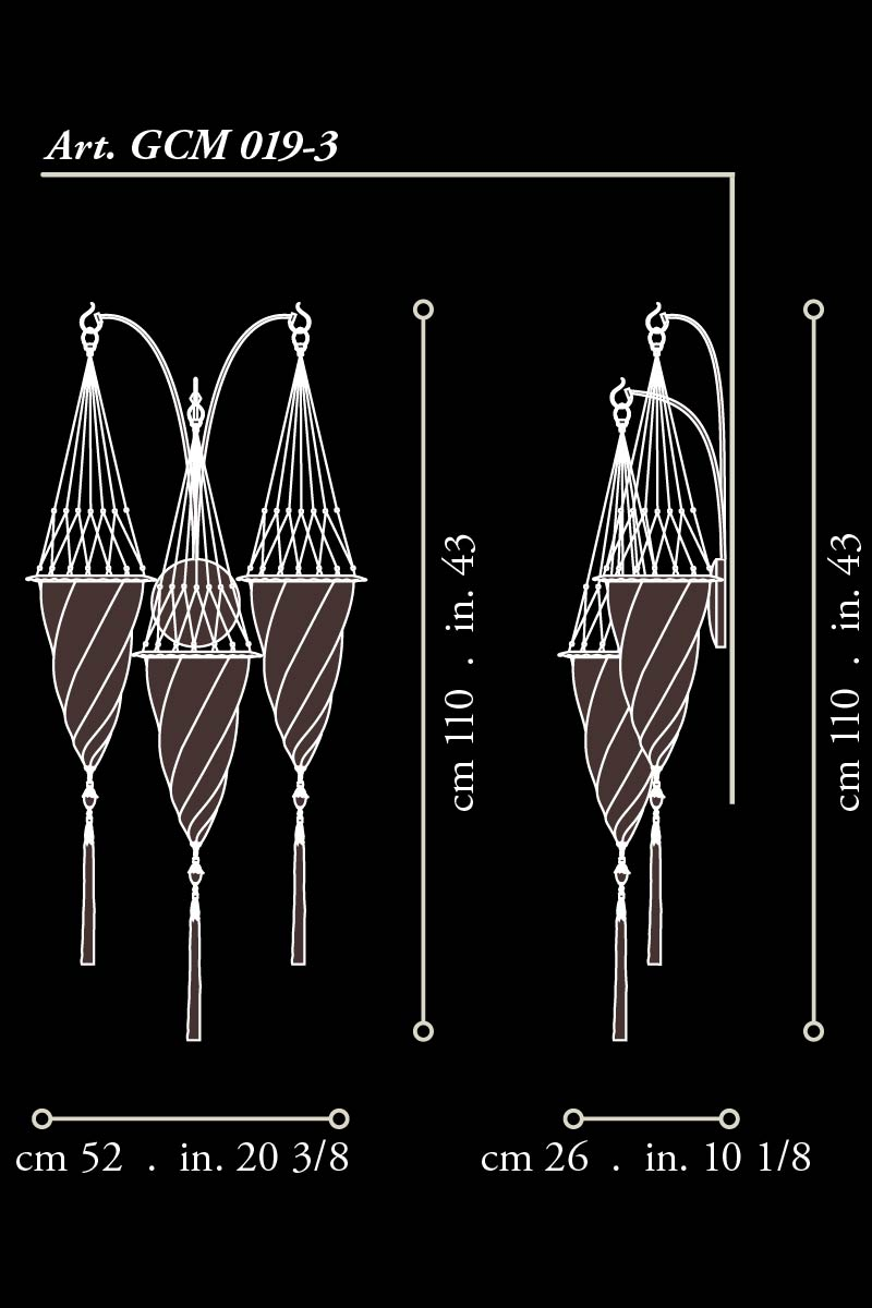 Applique Fortuny Cesendello avec arche en suspension dimensions