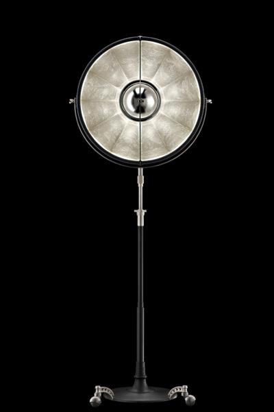 Lampadaire trépied Fortuny Atelier 63 noir et feuille d'argent
