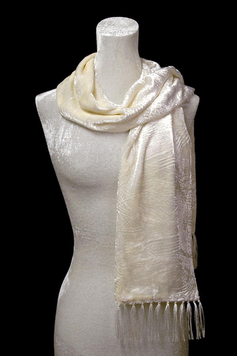 Écharpe Fortuny en velours froncé blanc à franges