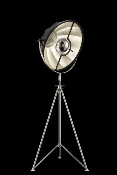 Lampadaire trépied Fortuny Studio 63 noir et Feuille d'Argent avec trépied en acier
