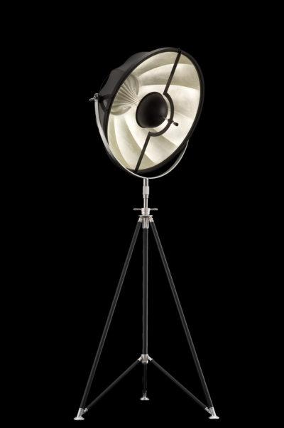 Lampadaire trépied Fortuny Studio 63 noir et Feuille d'Argent avec trépied
