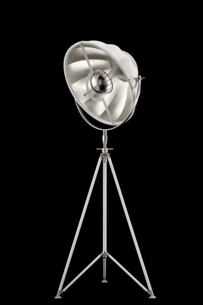 Lampadaire trépied Fortuny Studio 63 blanc et Feuille d'Argent
