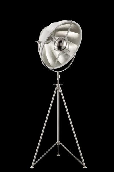 Lampadaire trépied Fortuny Studio 63 blanc et Feuille d'Argent avec trépied en acier