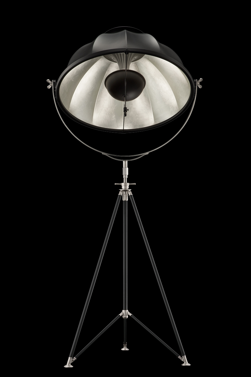 Fortuny Studio 76 floor tripod lamp black and silver