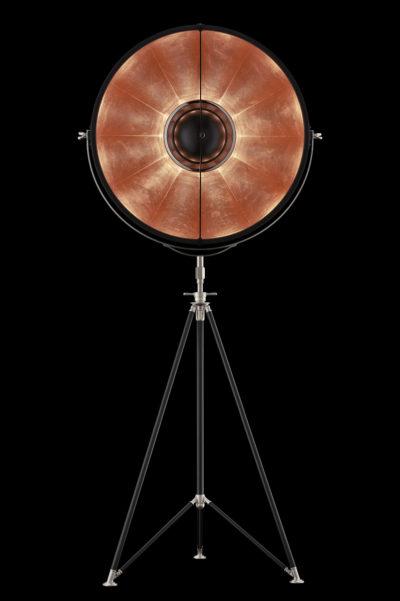Lampadaire trépied Fortuny ® Studio 76 noir et cuivre