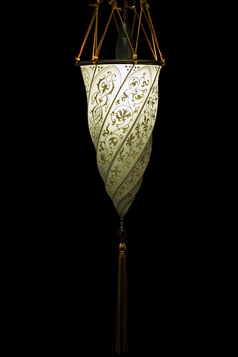 Lampe Fortuny Cesendello en soie gris sauge