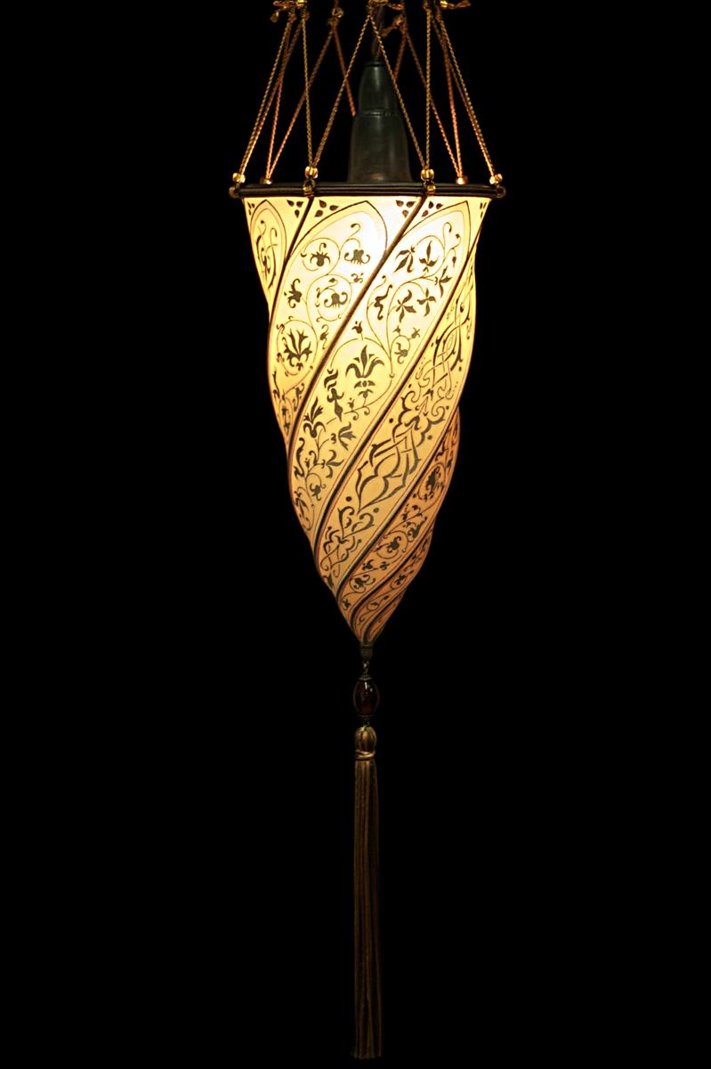 Cesendello Fortuny lampe en soie saumon suspension ou applique