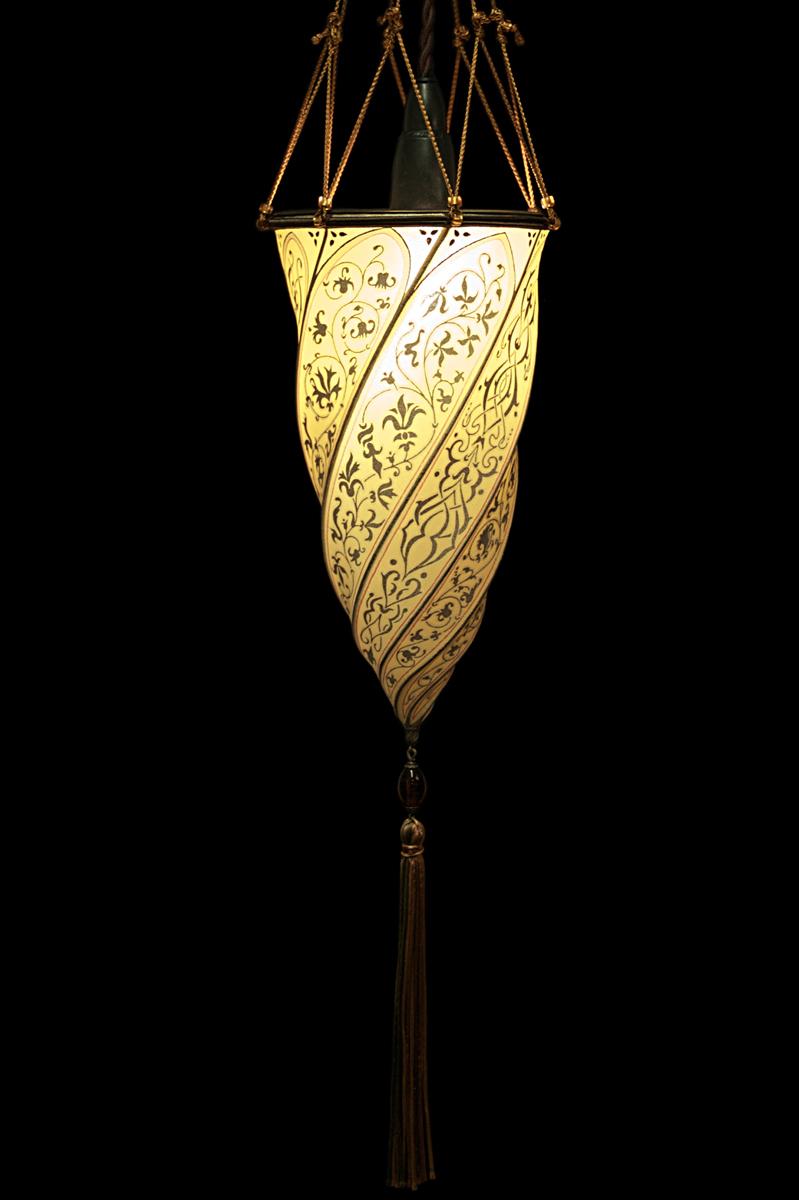 Cesendello Fortuny lampe en soie ocre jaune suspension ou applique