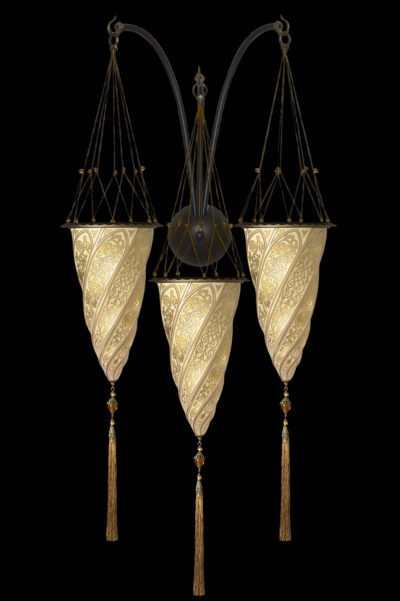 Applique Fortuny Cesendello triple arche en verre décoration or