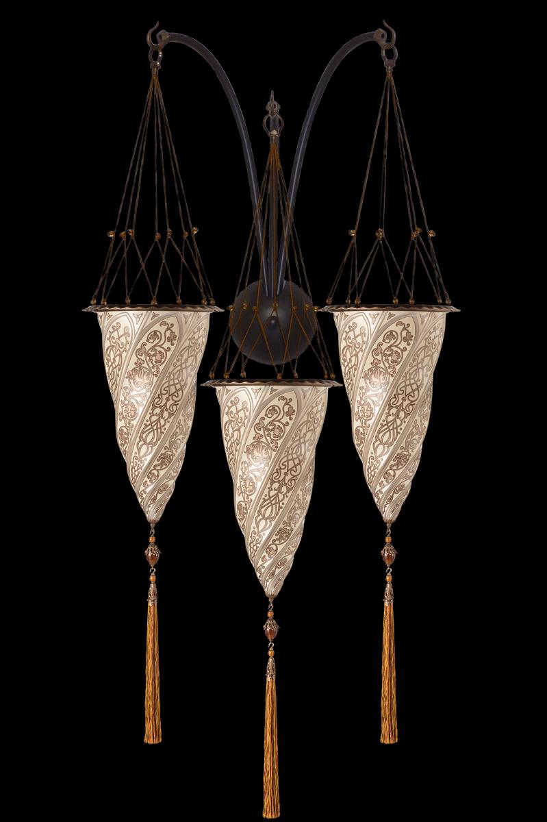 Applique Fortuny Cesendello triple arche en verre décoration argent