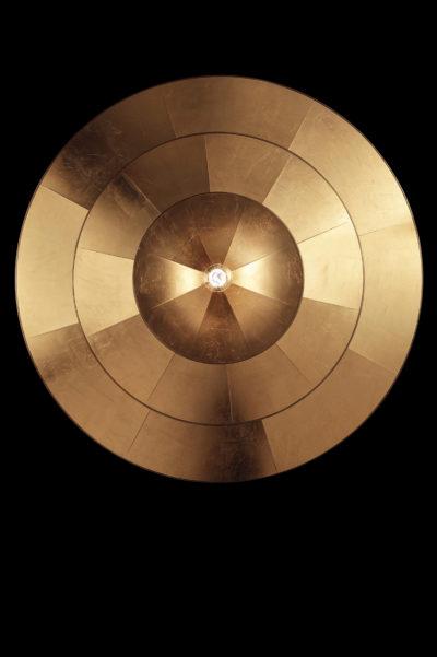 Icaro lampe à feuille d'or en fibre de verre à 3 niveaux, vue de dessous