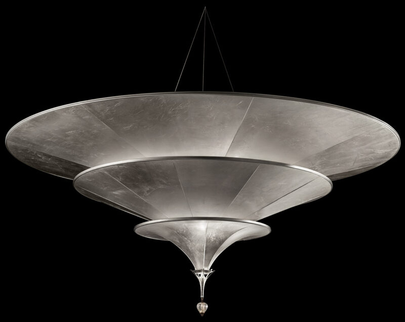 Fortuny Icaro glass fibre 3 tiers silver lamp