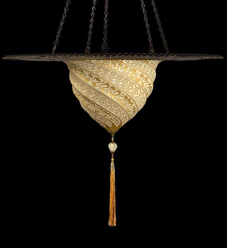 Lampe Fortuny Samarkanda en verre or avec anneau en métal