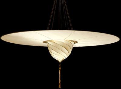 Lampe en soie unie Samarkanda Fortuny avec disque