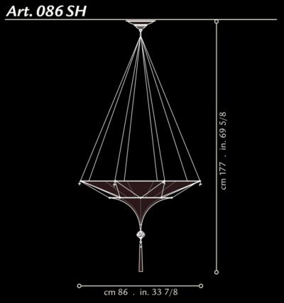 Lampe en soie Scheherazade à 2 niveaux Fortuny, dimensions