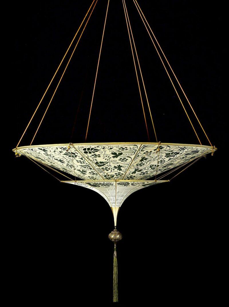 Fortuny Scheherazade 2 tiers floral green silk lamp