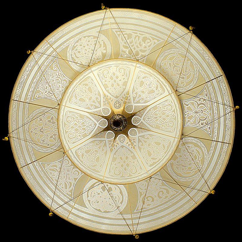 Lampe en soie Scheherazade à 2 niveaux décoration géométrique, vue de dessous
