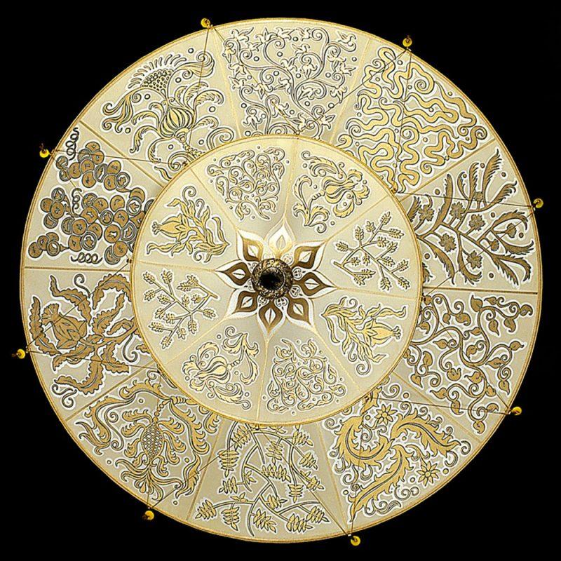 Lampe en soie Scheherazade à 2 niveaux décoration Herbarium, vue de dessous