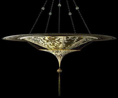 Fortuny® Scheherazade à 2 niveaux décoration Herbarium avec l'anneau en métal