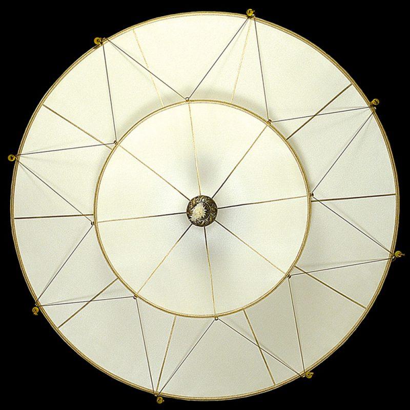 Lampe en soie unie Scheherazade à 2 niveaux Fortuny Plain, vue de dessous