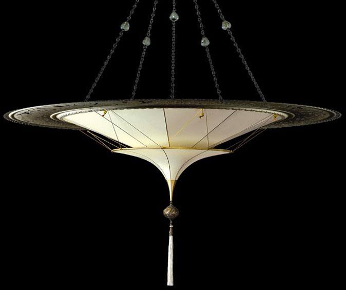 Fortuny® Scheherazade à 2 niveaux Plain en soie unie avec l'anneau en métal