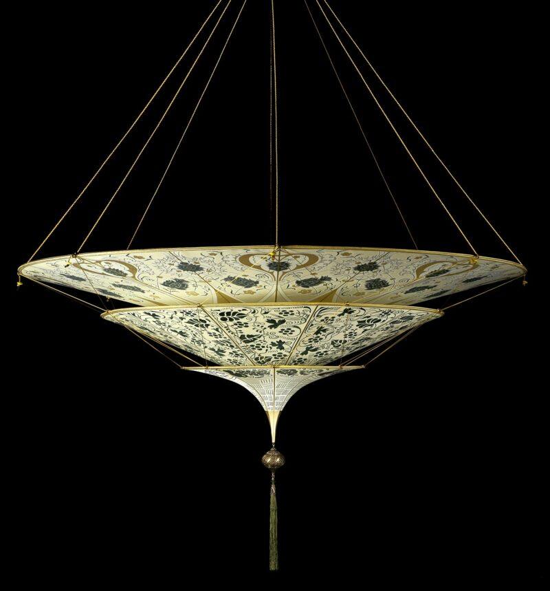 Fortuny Scheherazade 3 tiers floral green silk lamp