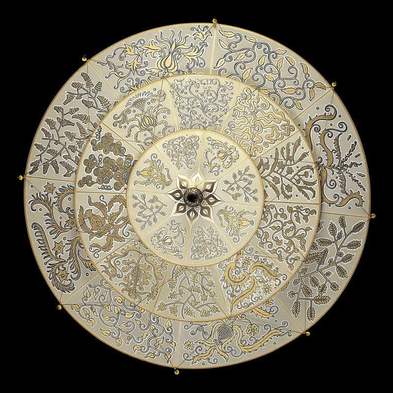 Lampe en soie à 3 niveaux Scheherazade Fortuny décoration Herbarium, vue de dessous
