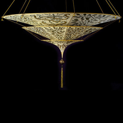 Lampe en soie à 3 niveaux Scheherazade Fortuny décoration Herbarium