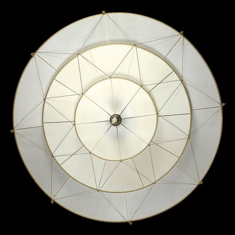 Lampe en soie unie à 3 niveaux Scheherazade Fortuny Plain, vue de dessous