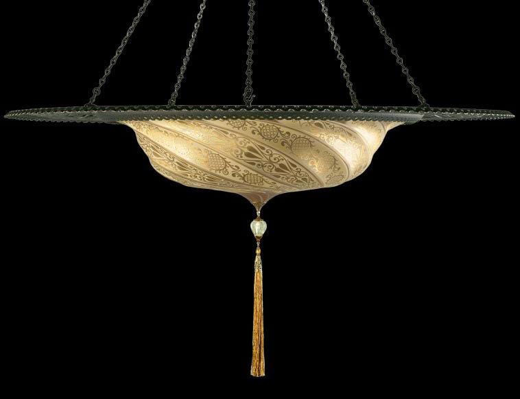 Luminaire en verre Fortuny Scudo Saraceno or classique avec l'anneau en métal