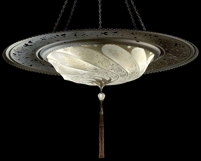 Lampe en soie avec anneau en métal Scudo Saraceno