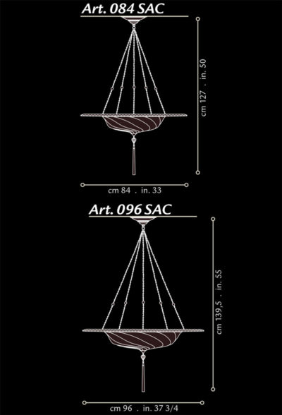 Fortuny® Scudo Saraceno en soie avec l'anneau en métal, dimensions
