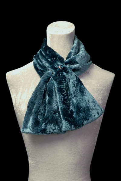 Écharpe en velours froncé et perles de verre de Murano