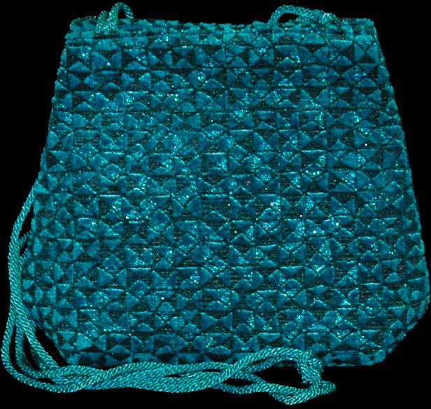 Sac en velours bleu turquoise Fortuny Gioia Alessandrino