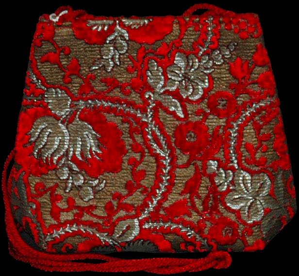 Sac en velours rouge imprimé à la main Fortuny Gioia Giudecca