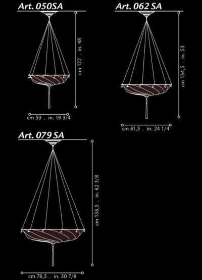 Lampe en soie Scudo Saraceno Fortuny , dimensions
