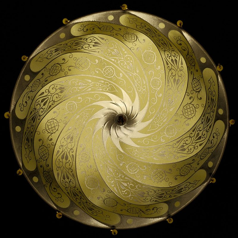 Fortuny® Scudo Saraceno Classic, lampe en soie ocre jaune