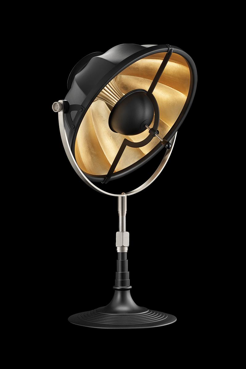Lampe de table Fortuny Armilla 32 Noire et Feuille d'Or