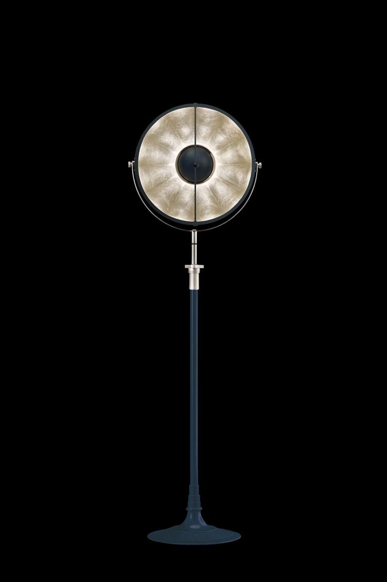 Studio 1907 Fortuny lampadaire Atelier 41 bleu pastel et feuille d'argent
