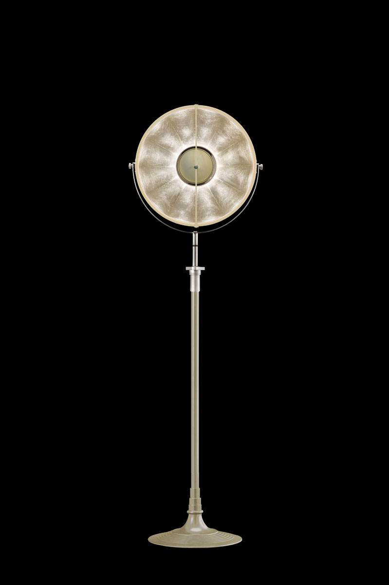 Studio 1907 Fortuny lampadaire Atelier 41 quartz et feuille d'argent