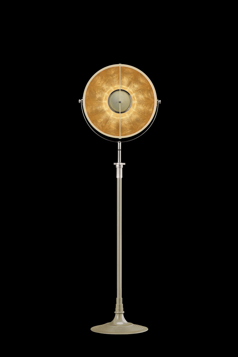 Studio 1907 Fortuny lampadaire Atelier 41 quartz et feuille d'or