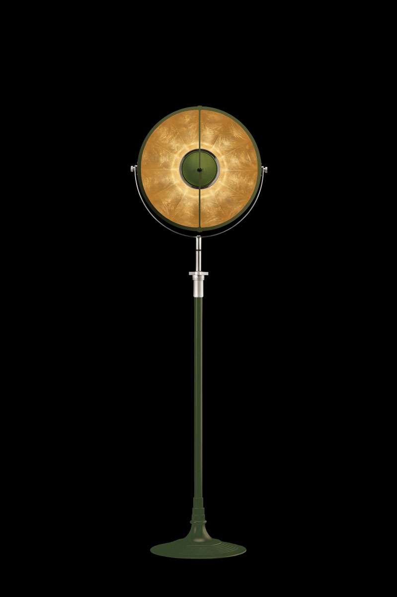Studio 1907 Fortuny lampadaire Atelier 41 vert pastel et feuille d'or