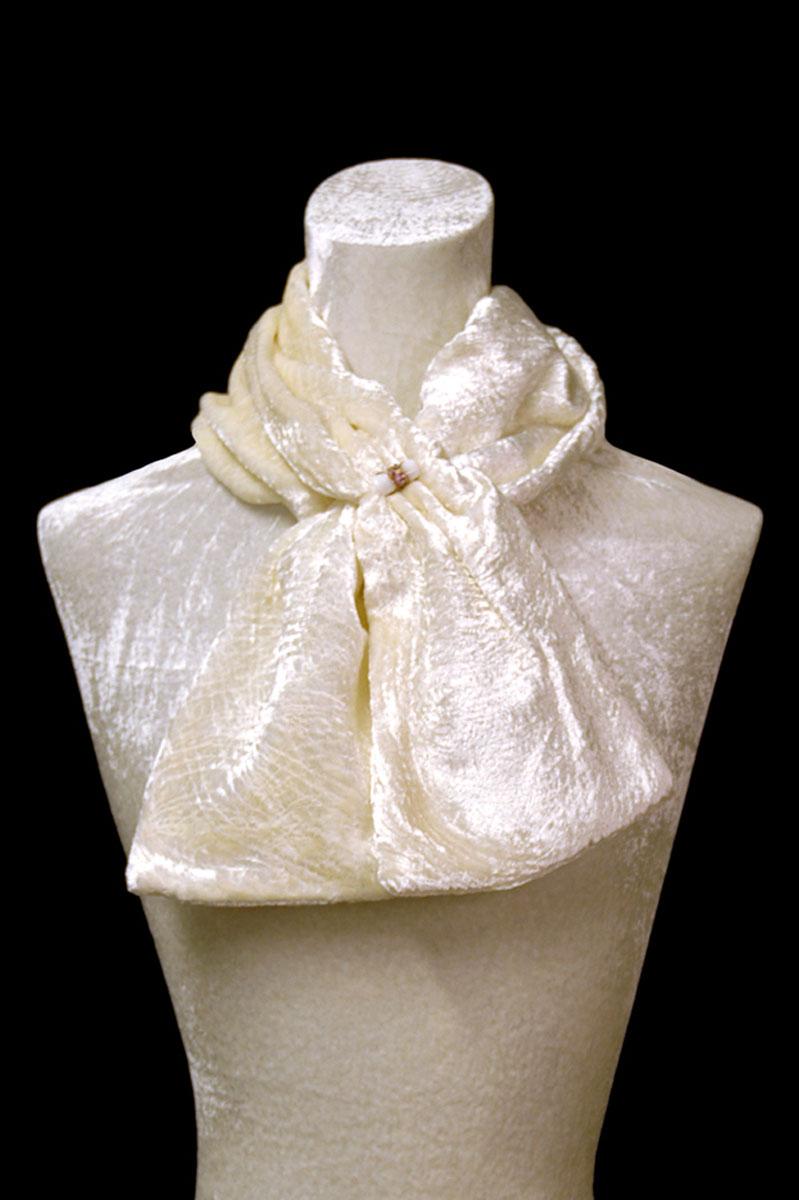Écharpe Fortuny blanche en velours froncé et perles de verre de Murano