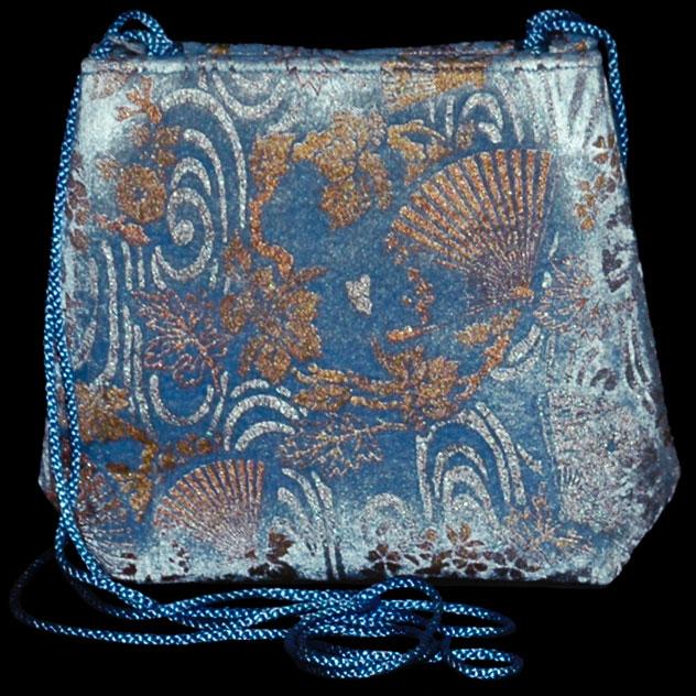 Sac en velours bleu clair Gioia s imprimé à la main