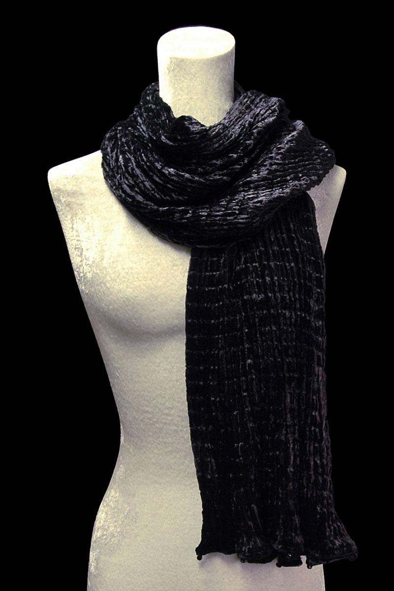 Écharpe Fortuny en velours plissé noir