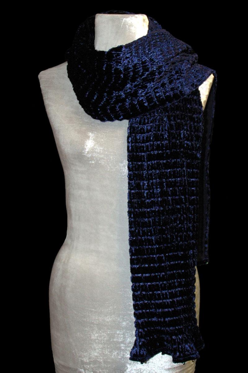 Écharpe Fortuny en velours plissé bleu biro