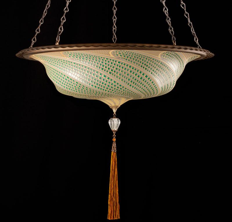 Lampe Scudo Saraceno Fortuny en verre Mosaïque vert