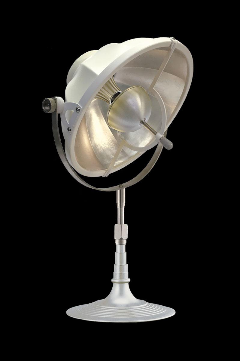 Lampe de table Fortuny Armilla 32 Blanc et Feuille d'Argent